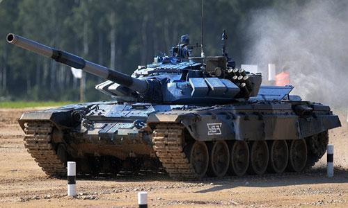 Xe tăng T-72B3 của Nga thi đấu trong khuôn khổ Tank Biathlon 2018. Ảnh: RIA Novosti.