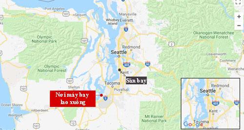 Vị trí máy bay lao xuống và sân bay Seattle-Tacoma. Đồ họa: Google.