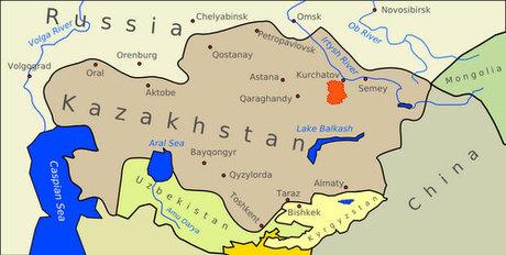 Bãi thử Semipalatinsk (màu da cam) ở Kazakhstan. Đồ họa: Sputnik.