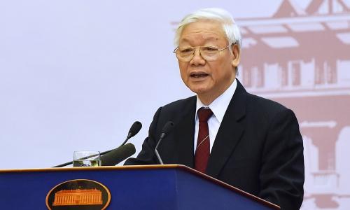 Tổng bí thư Nguyễn Phú Trọng tại Hội nghị ngoại giao sáng nay tại Hà Nội. Ảnh: Giang Huy.