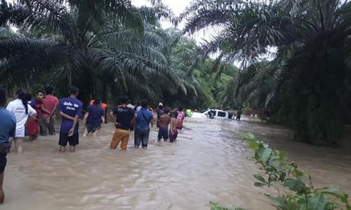 Chiếc ôtô của hai thợ lặn Claus Rasmussen và Seetoh Yi Yu mắc kẹt giữa dòng nước lũ hôm 9/8. Ảnh: Facebook/Seetoh Yi Yu.