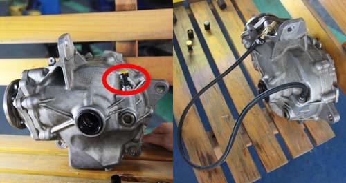 Van thở nguyên bản (trái) và sau khi được độ bằng ống cao su nối dài tại một garage tư nhân ở Quận 7, TP HCM.