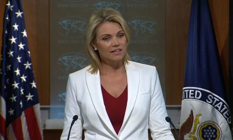 Phát ngôn viên bộ Ngoại giao Mỹ Heather Nauert. Ảnh: CNN.