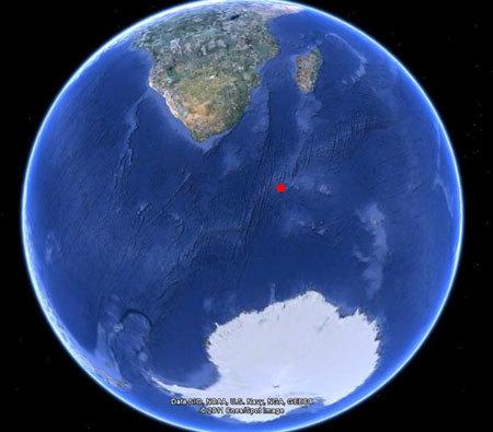 Vị trí nơi vệ tinh Vela ghi nhận được chớp nổ bí ẩn trên Ấn Độ Dương năm 1979. Ảnh: Google Earth.