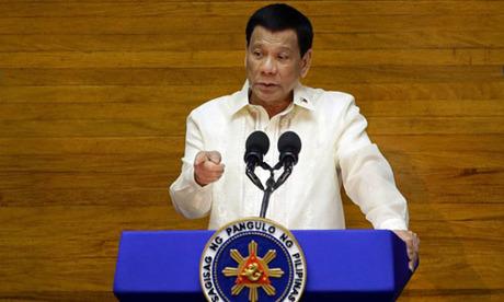Tổng thống Rodrigo Duterte phát biểu tại thành phố Quezon, Philippines hôm 23/7. Ảnh: Reuters.