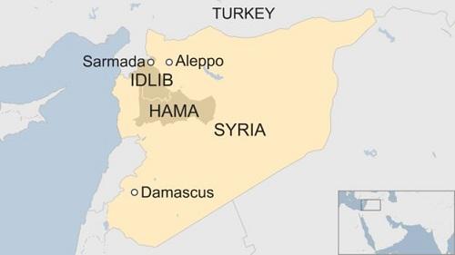 vị trí tình Idlib và Hama. Đồ họa: BBC.