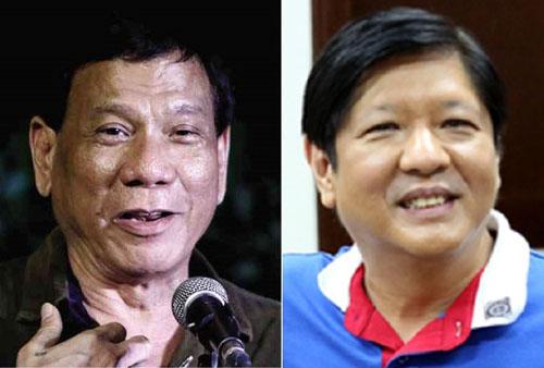 Tổng thống Philippines Rodrigo Duterte (trái) và cựu ứng viên phó tổng thống Ferdinand Marcos Jr. Ảnh: Inquirer.