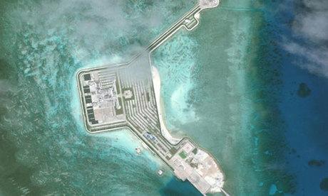 Đá Gaven thuộc quần đảo Trường Sa của Việt Nam bị Trung Quốc bồi đắp trái phép thành đảo nhân tạo. Ảnh: CSIS/AMTI.