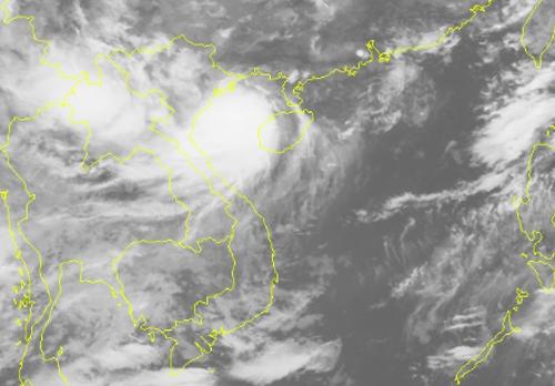 Ảnh mây vệ tinh bão Bebinca sáng ngày 16/8. Ảnh: NCHMF.