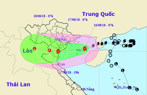 Vị trí và dự báo đường đi của bão Bebinca lúc 8h ngày 16/8. Ảnh: NCHMF.