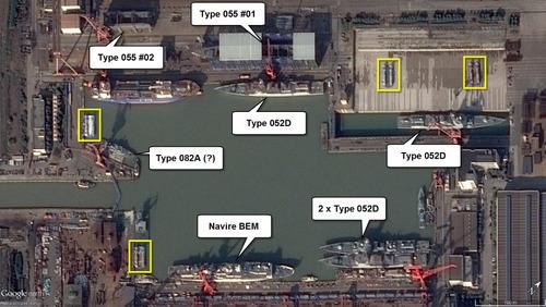 Các chiến hạm được đóng tại nhà máy của CSIC hồi năm 2016. Ảnh: Google Earth.
