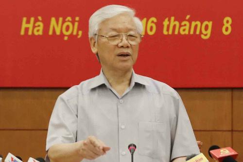 Tổng bí thư Nguyễn Phú Trọng phát biểu tại phiên họp. Ảnh: TTX