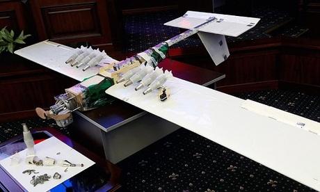 Một UAV bị phòng không Nga vô hiệu hóa gần sân bay Hmeymim hồi tháng 1. Ảnh: TASS.