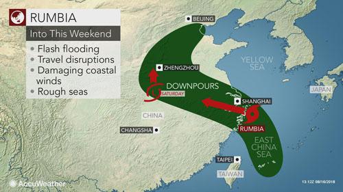Bão Rumbia đổ bộ Thượng Hải sáng 17/8 và sẽ tiếp tục di chuyển theo hướng tây bắc. Ảnh: Accu Weather.
