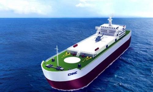 Mô hình trạm năng lượng hạt nhân nổi trên biển do Tập đoàn Hạt nhân Quốc gia Trung Quốc (CNNC)thiết kế. Ảnh: CNNC.