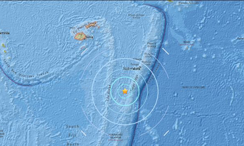 Trận động đất 8,2 độ ngoài khơi đảo Fiji xảy ra hôm 19/8. Ảnh: USGS.