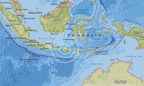 Vị trí đảo Lombok, Indonesia, nơi xảy ra trận động đất mạnh 6,3 độ hôm nay. Ảnh: USGS.