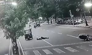 Bị khỉ đâm ngang, người lái xe máy ngã bất tỉnh