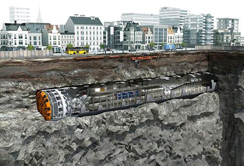 Đồ họa máy đào hầm theo công nghệ TBM sẽ sử dụng cho dự án Metro Nhổn-Ga Hà Nội. Ảnh: MRB