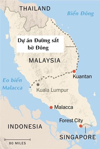 Vị trí diễn ra các dự án đầu tưcủa Trung Quốc tại Malaysia. Đồ họa: NYTimes.