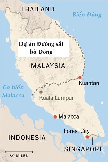 Vị trí diễn ra các dự án đầu tư của Trung Quốc tại Malaysia. Đồ họa: NYTimes.