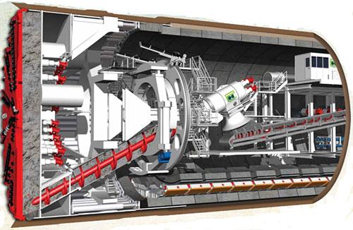 Máy đào hầm theo công nghệ TBM của Italia. Ảnh: MRB