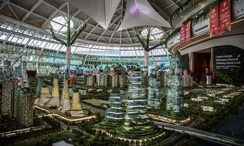Mô hình dự án khu đô thị Forest City ởJohor Bahru, Malaysia. Ảnh: NYTimes.