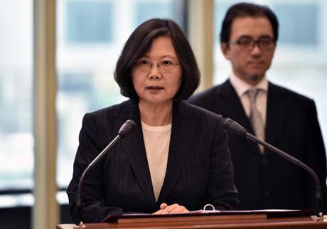 Lãnh đạo Đài Loan Thái Anh Văn phát biểu tại sân bay quốc tế Đào Viên tháng 1/2017. Ảnh: AFP.