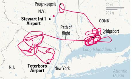 Chiếc Gulfstream IV phải bay lòng vòng suốt 5 tiếng trước khi hạ cánh. Đồ họa: AP.
