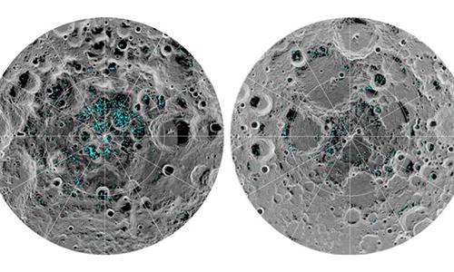 Phần lớn băng được phát hiện nằm bên trong các miệng núi lửa ở hai cực của Mặt Trăng. Ảnh: Phys.