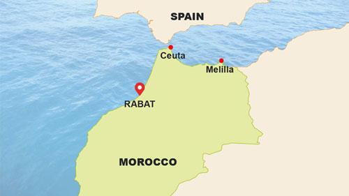 Ceuta và Melilla là hai vùng lãnh thổ của Tây Ban Nha giáp với Morocco. Đồ họa: BBC.