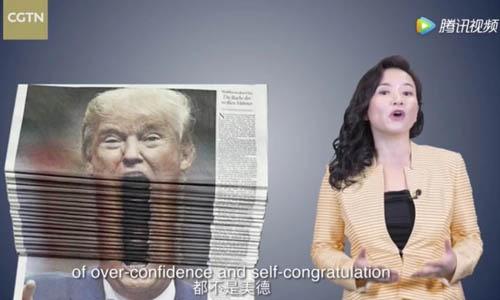 Người dẫn chương trình Cheng Lei đọc lá thư của kênh truyền hình CGTN gửi đến Tổng thống Mỹ Donald Trump hôm 20/8. Ảnh: SCMP.