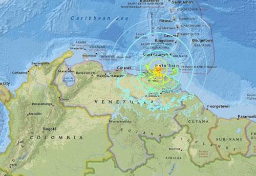 Tâm chấn trận động đất nằm ở độ sâu 123,2 km ở bờ biển phía đông bắc Venezuela. Đồ họa: USSG.