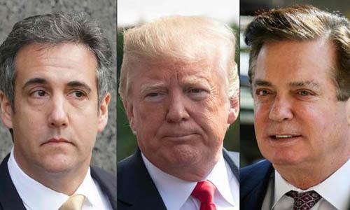 Cựu luật sư Michael Cohen (trái), Tổng thống Mỹ Donald Trump (giữa) và cựu giám đốc chiến dịch tranh cử Paul Manafort. Ảnh: AFP.