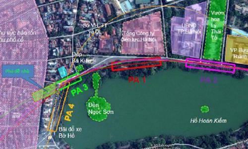 4 phương án vị trí nhà ga tại khu vực Hồ Gươm.
