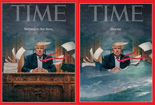 Hai trang bìa của Time vào tháng 2/2017 và tháng 4/2018. Ảnh: Time