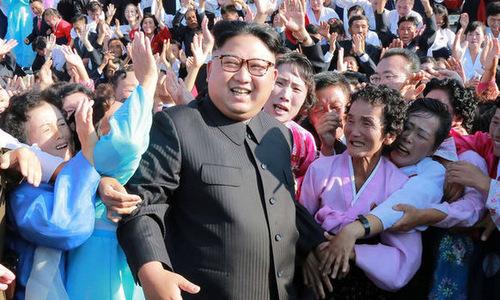 Lãnh đạo Triều Tiên trong chuyến gặp những người cao tuổi Triều Tiên năm 2017. Ảnh: AFP.