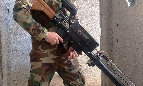 Mẫu súng mới với thiết kế hầm hố của quân đội Syria. Ảnh: Almasdar News.