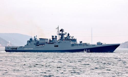 Tàu hộ vệ Đô đốc Grigorovich trên đường tới Địa Trung Hải hồi năm 2017. Ảnh: Livejournal.