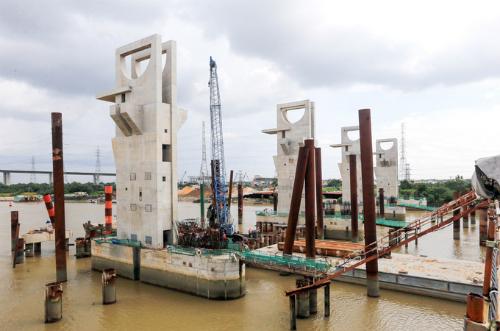 Cống Mương Chuối - một trong 6 cống ngăn triều thuộc dự ánGiải quyết ngập do triều khu vực TP HCM có xét đến yếu tố biến đổi khí hậu. Ảnh: Quỳnh Trần