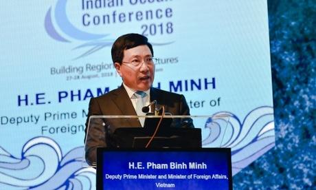 Phó thủ tướng Phạm Bình Minh trong lễ khai mạc Hội thảo Ấn Độ Dương hôm nay tại Hà Nội. Ảnh: Thành Trung.
