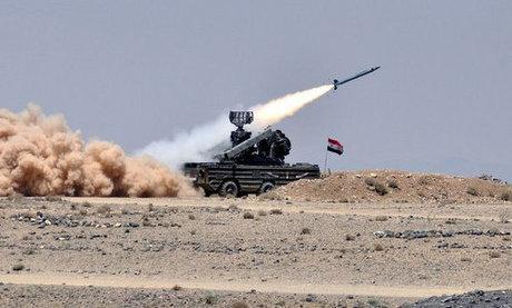 Tổ hợp phòng không Osa-AK của Syria khai hỏa trong một đợt diễn tập. Ảnh: SANA.