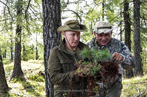 Tổng thống Nga và Bộ trưởng Quốc phòngSergei Shoigu kiểm tra đất trong chuyến thưởn ngoạn ởkhu bảo tồn Sayano-Shushensky. Ảnh: Điện Kremlin.