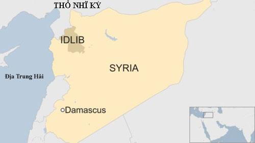 Quân đội Syria đang chuẩn bị cho chiến dịch giải phóng tỉnh Idlib ở miền bắc, giáp biên giới với Thổ Nhĩ Kỳ. Đồ họa: BBC.