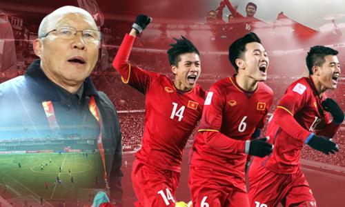 Huấn luyện viên Park Hang Seo và các cầu thủ U23 tạigiải vô địch bóng đá châu Á AFC Cup hồi tháng 1 ở Thường Châu, Trung Quốc. Đồ họa: VnExpress.