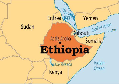 Ethiopia nằm ở đông bắc châu Phi. Đồ họa: BBC.