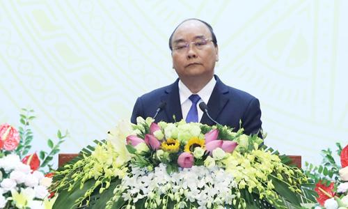 Thủ tướng Nguyễn Xuân Phúc phát biểu tại tiệc chiêu đãi đoàn ngoại giao hôm nay. Ảnh: Bộ Ngoại giao.