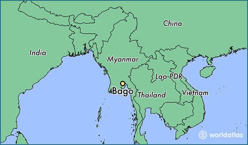 Vụ vỡ đập xảy ra ở khu vực Bago, đông nam Myanmar. Đồ họa: World Atlas.