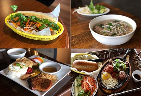 Các món bánh mỳ, phở, cơm tấm, bánh mỳ chảo ở Little Saigon Plaza. Ảnh: Kansas City Star