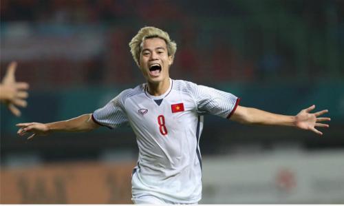 Cầu thủ Văn Toàn tỏa sáng trong trận đấu giữa Olympic Việt Nam và Syria ngày 27/8. Ảnh: Đức Đồng